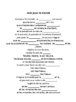 French comprehension using popular French songs