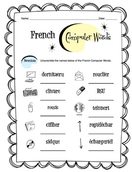 French Computer and Tech Words Worksheet Packet