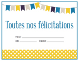 French Congratulations Certificate - toutes nos félicitations - {Editable}