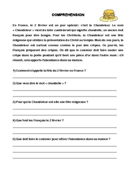 French Candlemas Conjugation Grammar Comprehension