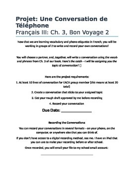 French Conversation Practice: Project, Bon Voyage Level 2, Chapter 3