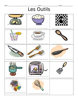 French Cooking Utensils Vocabulary Notes
