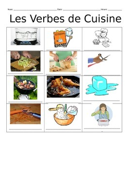 French Cooking Verbs Vocabulary Notes
