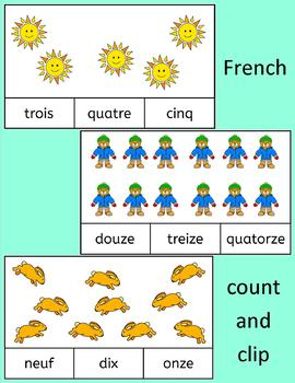 French Numbers Nombres Count and Clip cards - practice number words to 20
