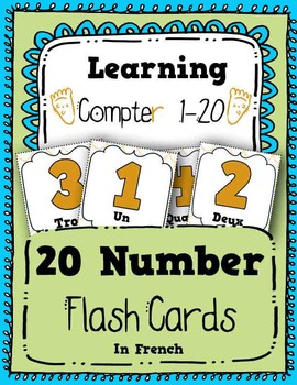 Numbers Flash Cards Counting 1-20 in French