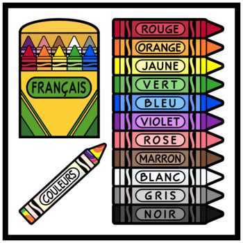 Crayons in French / Colors in French (High Resolution)