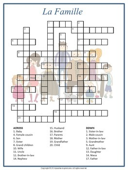 French Family Vocabulary Crossword: La Famille