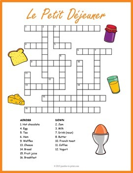 french breakfast vocabulary crossword le petit d jeuner by puzzles to print. Black Bedroom Furniture Sets. Home Design Ideas
