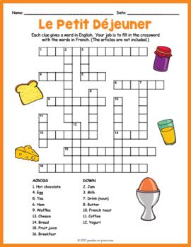 French Food Crossword Le Petit Dejeuner