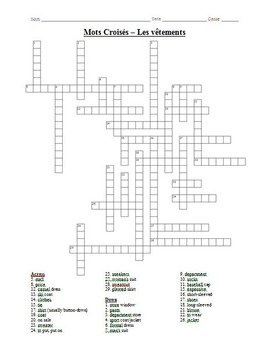french crossword puzzle les v tements by bill westers tpt. Black Bedroom Furniture Sets. Home Design Ideas