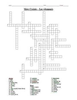 French Crossword Puzzle - Les Vêtements