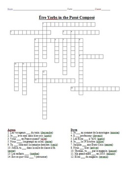 French Crossword Puzzle - Être Verbs in the Passé Composé