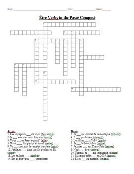 French Crossword Puzzle - Être Verbs in the Passé Composé