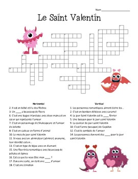 French - Crossword - Valentine's Day