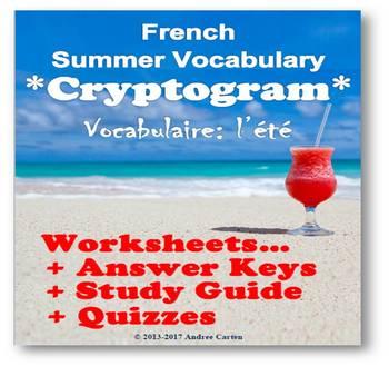 French Cryptograms - Summer Vocabulary + translation work + quiz