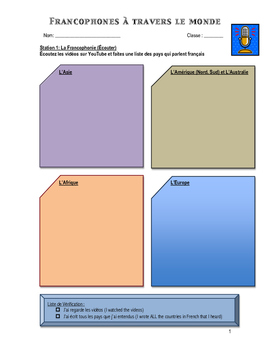 FSL Cultural Stations Unit Student Booklet - Ontario French Curriculum