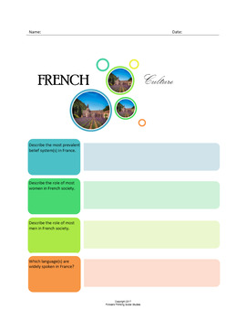 French Culture:  A Fillable Fact-Finding Sheet