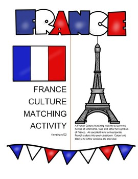 French Culture vocabulary matching activity Ontario Curriculum