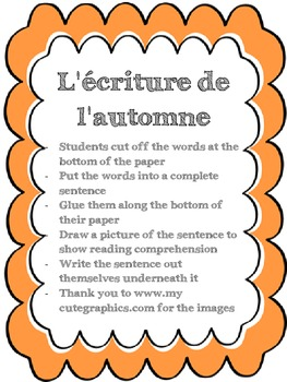 French Cut/Glue/Write Sentence Activity - Fall - L'automne