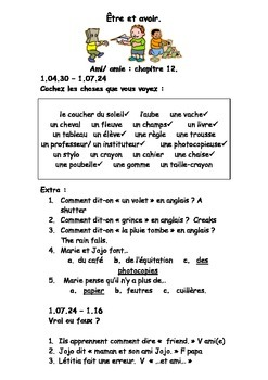 French Teaching Resources DVD/ Film Worksheet: School: Être et Avoir.