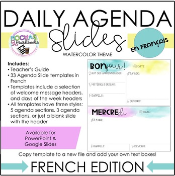 French Daily Agenda Slides - Watercolor Theme