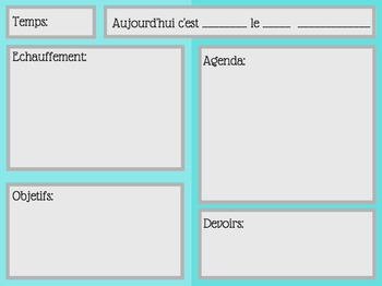 French Daily Information/Agenda Sheet