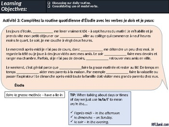 French - Daily Routine, Consolidating Use of Modal Verbs