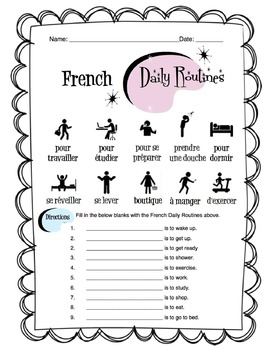 french daily routines worksheet packet by sunny side up resources. Black Bedroom Furniture Sets. Home Design Ideas