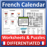 French Dates, Days, Months (Worksheets and Puzzles)