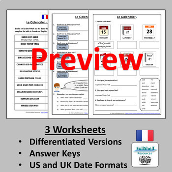 French Dates, Days, Months Worksheets
