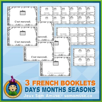 French Days Months Seasons • 3 Reading & Writing Booklets • Jungle Theme