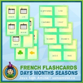 French Days Months Seasons Flash Cards • 3 styles included