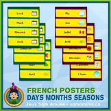French Days Months Seasons Word Wall • Horizontal 1/4 Page