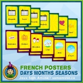 French Days Months Seasons Word Wall • Vertical 1/2 Page P