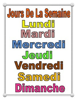 French Days of The Week Poster