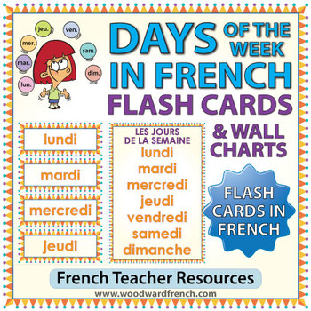 french days of the week flash cards charts by woodward education. Black Bedroom Furniture Sets. Home Design Ideas