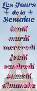 French Days of the Week Jours de la Semaine Eiffel Tower Skinny Poster