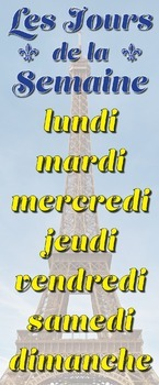 French Days of the Week Jours de la Semaine Eiffel Tower Skinny Poster YELLOW