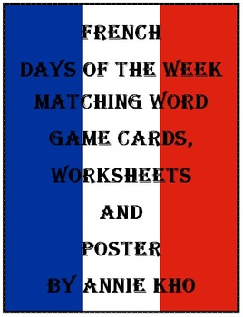French Days of the Week Mat... by Annie Kho | Teachers Pay Teachers