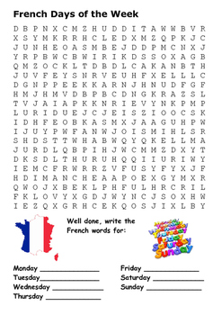 French Days of the Week Word Search