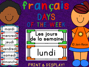 """French """"Days of the Week"""" Cards - Français"""
