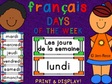 "French ""Days of the Week"" Cards - Français"