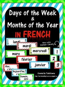 French Days of the Week and Months Labels