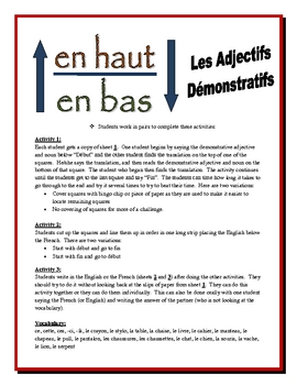 French Demonstrative Adjectives Activities (Speak, Read, Listen, Write)