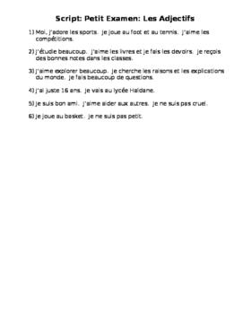 French Describing Myself Quiz Script