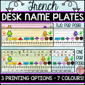 FRENCH DESK NAME PLATES - THREE PRINTING OPTIONS AND 7 COLOURS TO CHOOSE FROM