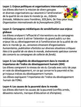 """French: """"Développement et qualité de vie dans le monde"""", Géo, Gr.8, 149 slides"""