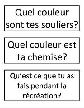 French Dialogue Questions and Sentence Starters