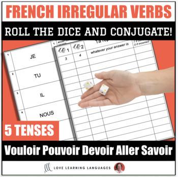 French Dice Game - VOULOIR - DEVOIR - POUVOIR - SAVOIR - ALLER