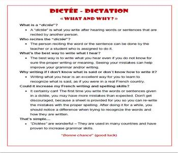 French Dictation / Dictee - Great Grammar, Spelling, and Listening Helper